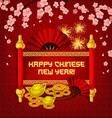 chinese new year festive scroll with gold and fan vector image vector image