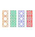 chinese rectangle window frame with islamic linear vector image vector image