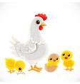 cute cartoon white chicken with chickens isolated vector image vector image