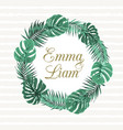 exotic tropical leaves wreath wedding invitation vector image vector image