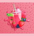 fresh berry blend juice with slice berries vector image vector image