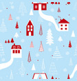 funny seamless pattern with houses snowflakes and vector image vector image