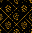 Gold lion heads on black background vector image