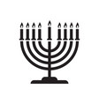 hanukkah candelabrum with nine lit candles vector image