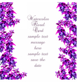 Lavender Card with flowers in watercolor paint vector image vector image