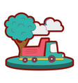 line color dump truck in the city with clouds and vector image vector image