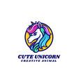 logo cute unicorn simple mascot style vector image