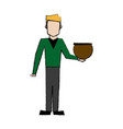 man holding a jar with a fish design vector image vector image