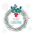 merry christmas celebration decoration wreath vector image