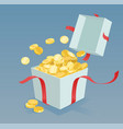 money coins coming out of the gift box vector image vector image