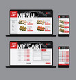 responsive asian food web shop template vector image vector image