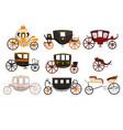 Retro carriages set vintage transport brougham