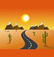 road through a desert and mountains vector image vector image