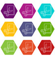 scissors paper icons set 9 vector image vector image