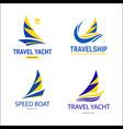 set bright blue travel boats sign design modern vector image vector image