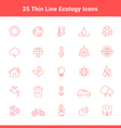Set of Thin Line Stroke Ecology Icons vector image vector image