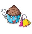 shopping chocolate cupcake character cartoon vector image