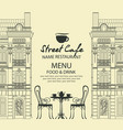 sidewalk cafe menu with a table in old town vector image vector image