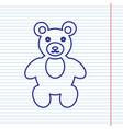 teddy bear sign navy line vector image vector image