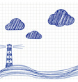 The lighthouse and the sea are drawn on paper vector image vector image