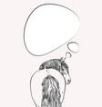 thinking horse with long mane looks back view vector image