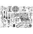 tools for hobsewing elements or materials vector image vector image