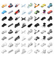 transportation set icons in cartoon style big vector image