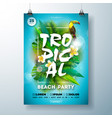 tropical summer beach party flyer design with vector image vector image