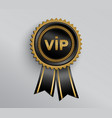 vip badge with ribbons vector image vector image