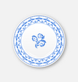 white plate with russian national ornament in vector image