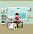 business woman working at her office desk vector image