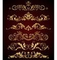 Golden vintage elements and borders set for ornate vector image