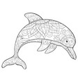 adult coloring bookpage a cute dolphin with vector image vector image