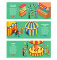 amusement park horizontal banners vector image vector image