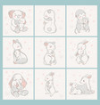 animal set family character vector image vector image