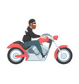 bearded man riding motorcycle side view male vector image vector image