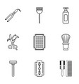beauty salon stuff icons set outline style vector image vector image