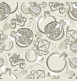 beige seamless patterns with pomegranate fig and vector image vector image