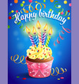 birthday card with cupcake and vector image vector image