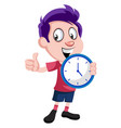 boy holding clock on white background vector image vector image