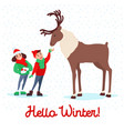 children feeding deer on winter holidays vector image vector image