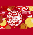 chinese new year greeting card with zodiac pig vector image vector image