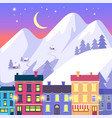 christmas small town on high mountains background vector image vector image