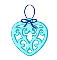 christmas toy in form a blue heart vector image vector image