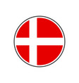 circle denmark flag with icon isolated on white vector image vector image