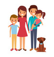 family together parents with daughter son and dog vector image