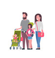 father mother daughter baby son in stroller full vector image