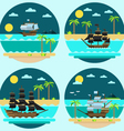 Flat design of pirate ships sailing vector image vector image
