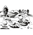 geese in a busy grass eating from a manger vector image vector image
