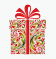 gift box on white background christmas greeting vector image vector image